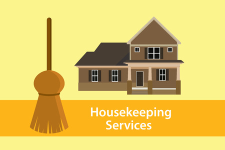 carpet cleaning service design: house keeping services illustration concept poster with broom and home vector graphic illustration