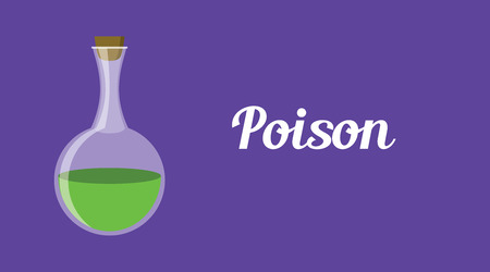 poison concept illustration with green bottle liquid vector graphic illustration