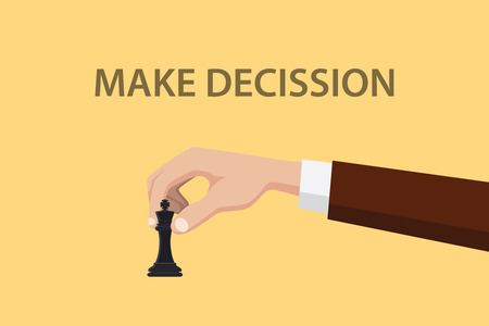 decission: make decission concept illustration with hand holding chess vector graphic illustration