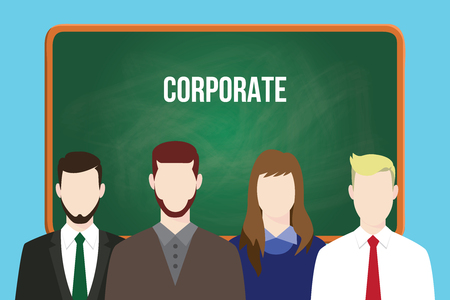 aligning: corporate team business illustration stand together aligning on front of green board vector Illustration