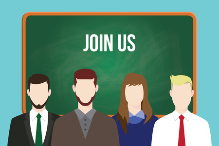 join us hr human resource business illustration team stand together with text on green board as background vector