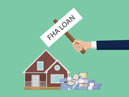 loan fha illustration with hand holding a poster with house and cash money stack vector