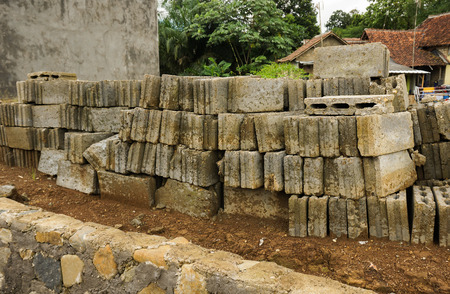 dwelling mound: Bricks and rocks as materials for construction photo taken in Bogor Indonesia java