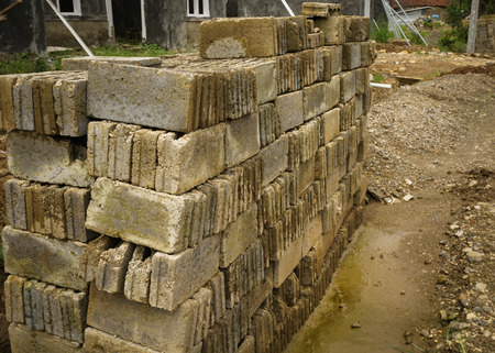 milepost: Piles of bricks to start building a house photo taken in Bogor Indonesia
