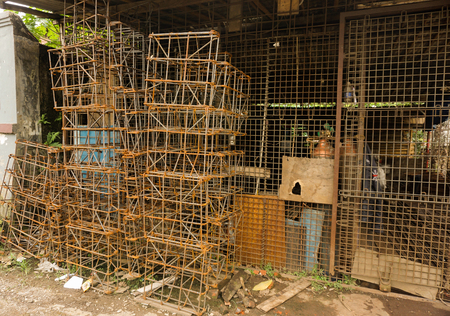 pile reuse engine: Concrete frame structure made from scrap built in a workshop photo taken in Bogor Indonesia