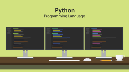 python programming language illustration with program code on three row monitor programmer workspace