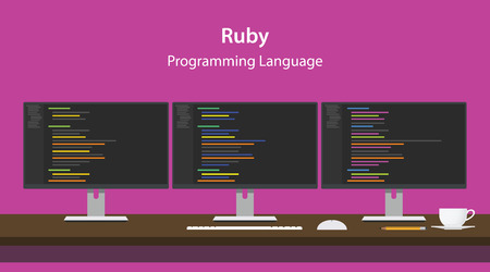 ruby: Illustration of Ruby programming language code displayed on three monitor in a row at programmer workspace Illustration