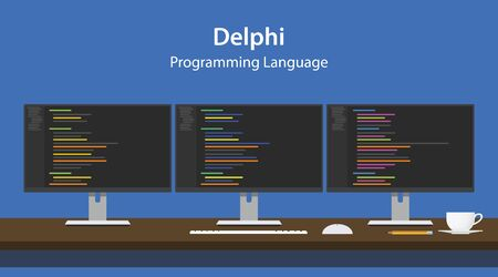 Illustration of Delphi programming language code displayed on three monitor in a row at programmer workspace