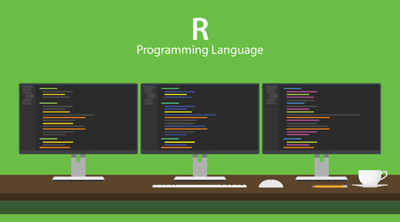 Illustration of R programming language code displayed on three monitor in a row at programmer workspace