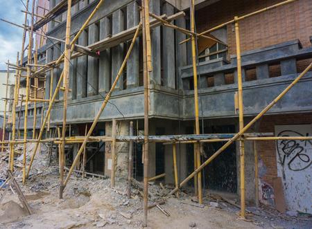scaffolder: On progress build a building with scaffolding photo taken in Jakarta Indonesia