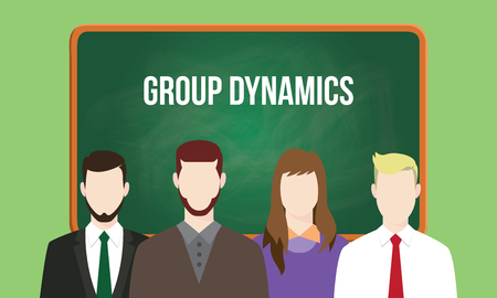 succession planning: group dynamics concept in a team illustration with text written on chalkboard Illustration