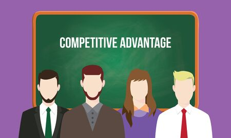 advantage: competitive advantage concept in a team illustration with text written on chalkboard Illustration