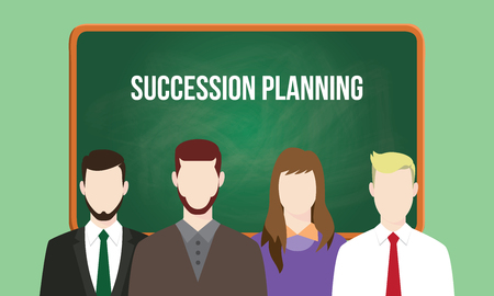 succession planning concept in a team illustration with text written on chalkboard Vettoriali