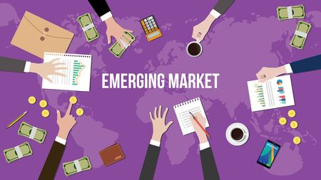 emerging markets: emerging market concept illustration with team working together on top of world map