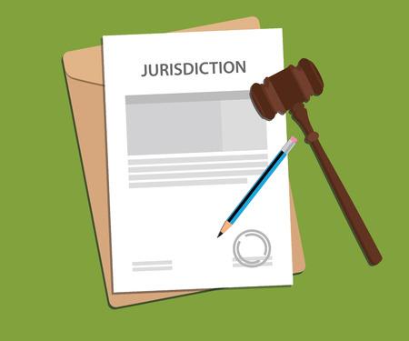 小槌とフォルダーのドキュメントで署名された署名のペーパーワークで司法権概念図  イラスト・ベクター素材