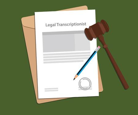 Signing agreement letter of legal transcriptionist illustration