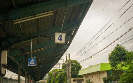 Peron numer 4 w Pasar Minggu stacji Zdjęcie zrobione w Dżakarcie Indonezja Zdjęcie Seryjne