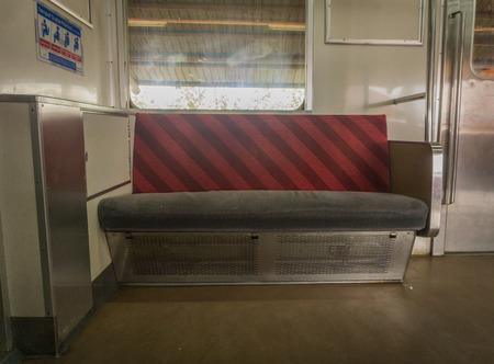 Empty seat in commuter line KRL Jabodetabek photo taken in Jakarta Indonesia