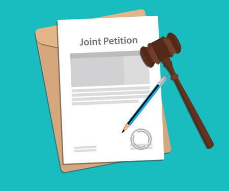 joint petition concept illustration with paperworks, pen and a judge hammer Illustration