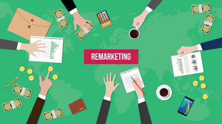 illustration of discussion about remarketing in a company with paperworks, money and document folder on top of table