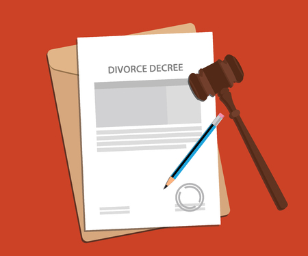 decree: divorce decree agreement concept illustration with paperworks, pen and a judge hammer