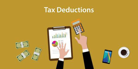 illustration of working to count a tax deductions calculation with paperworks and calculator on top of table