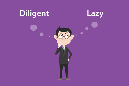 Comparing benefits between become a diligent or lazy person illustration with a white bubble text