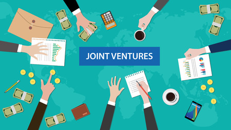 ventures: discussion group about joint ventures in a meeting illustration with paperworks, coins, folder document littered on top table
