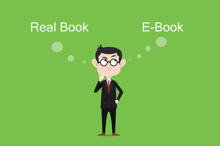 comparing: Comparing the benefits of real book vs ebook illustration with white bubble text Illustration