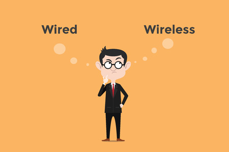 confuse to choose whether using wired vs wireless for internet connection in the office illustration with white bubble text