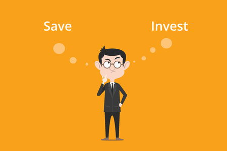 vs: Comparing benefits between save or invest to make decision illustration with a white bubble text Illustration