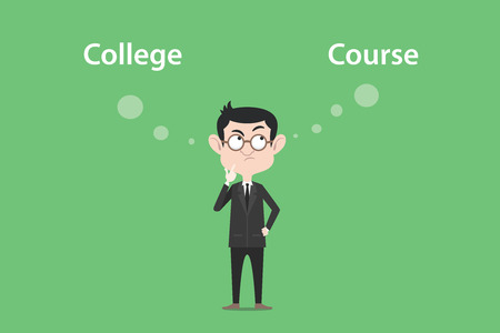 confusing to make a decision for going to college or course illustration with a white bubble text Illustration