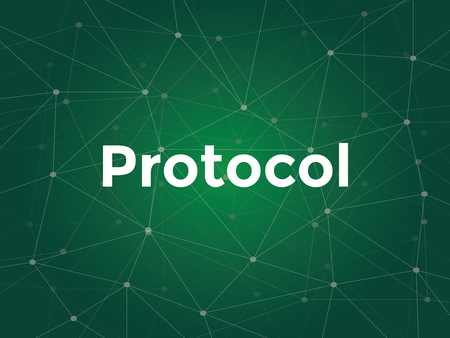 tcp: illustration white text on green background for protocol on networking is a standard used to define a method of exchanging data over a computer network vector Illustration