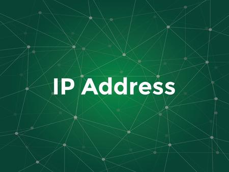 illustration de texte en blanc pour le concept d'adresse IP - étiquette numérique attribuée à chaque périphérique participant à un réseau informatique utilisant le protocole Internet pour la communication