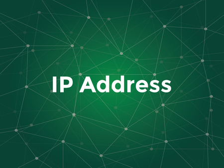 white text illustration for ip address concept - is a numerical label assigned to each device participating in a computer network that uses the Internet Protocol for communication Vectores
