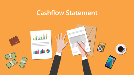 accountant: write and count cashflow statement on a paperworks with calculator, money and coffee on top of table Illustration