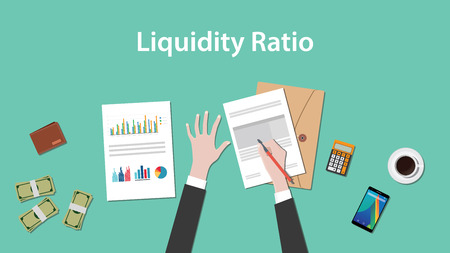 illustration of counting liquidity ratio with paperworks, calculator and money on top of table