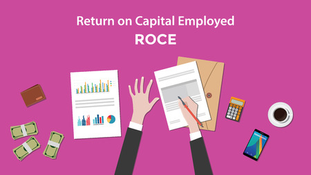 signing: illustration of counting return on capital employed ROCE with paperworks, calculator and money on top of table