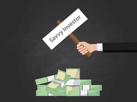 Savvy investor text illustration on a sign board on top of money heap with black background