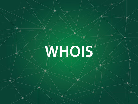 whois an Internet utility used to search the large DNS Domain Name System database of domain names, IP addresses, and and Web servers Stock Illustratie