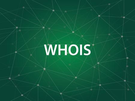 Whois een internetprogramma gebruikt om de grote DNS Domain Name System database van domeinnamen, IP adressen en webservers te zoeken Stockfoto - 71497304