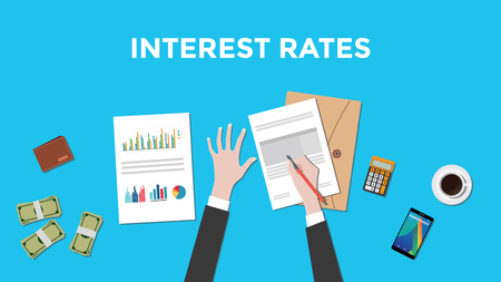 interest rates: illustration of counting interest rates with paperworks, calculator and money on top of table and blue background