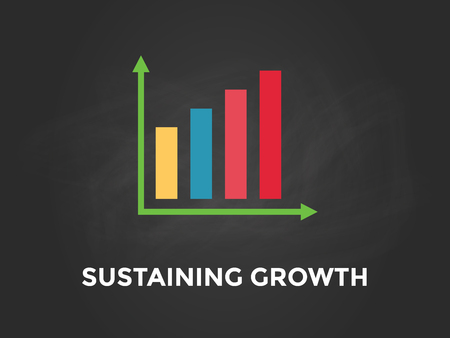 Sustaining Growth chart illustration with colourful bar, white text and black background Illustration