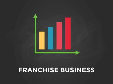 branded product: franchise business chart illustration with colourful bar, white text and black background