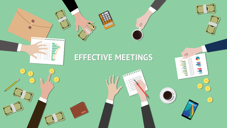 effective meetings illustration with paperworks, money and folder document on top of table Ilustração