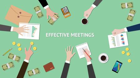 effektive Besprechungsillustration mit Papier-, Geld- und Ordnerdokument oben auf Tabelle