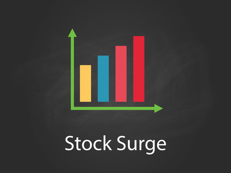 stock surge chart illustration with colourful bar, white text and black background