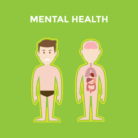 mental health illustration with two bodies shows its organ such brain, lung, heart and liver and also a smiling man with green background
