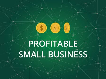 profitable small business text illustration with three gold coins and constellation in green background
