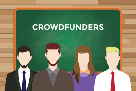 founders: Crowdfounders illustration with four people in front of green chalk board and white text. Illustration